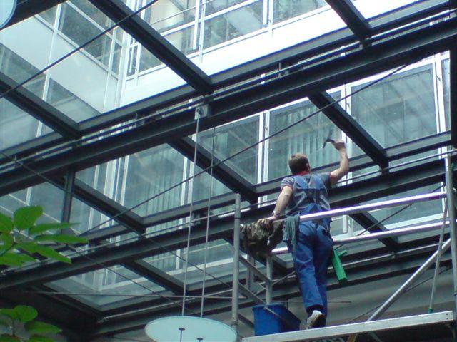 Reinigung Glasdecke von  unten, Lampenreinigung, Pflanzenpflege, Büroreinigung, reinigen von Lammellen, Deckenlampen, Schrankoberflächen, Lichtwerbung, Neonschrift